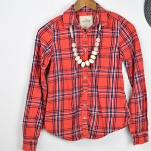 Hollister red striped full sleeves shirt sz:XS